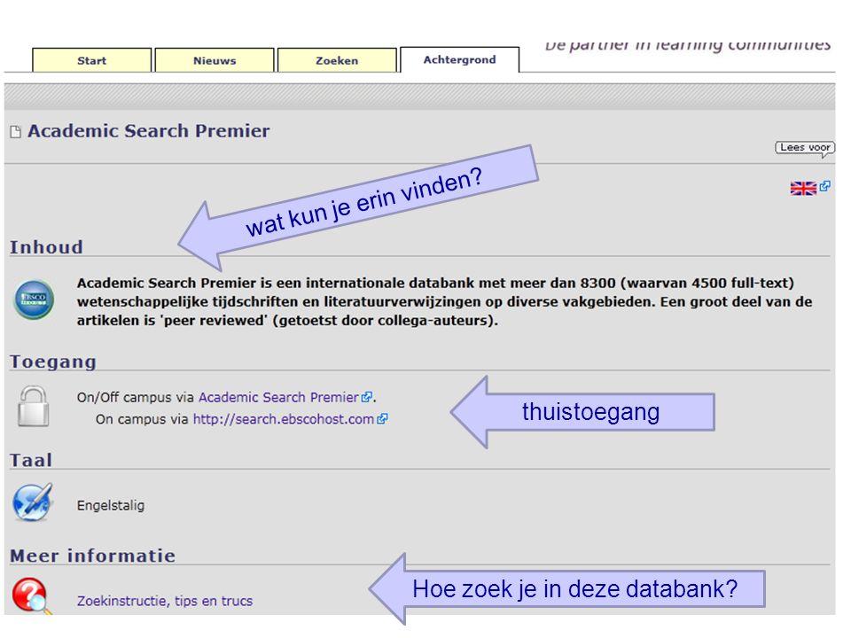 Hoe zoek je in deze databank