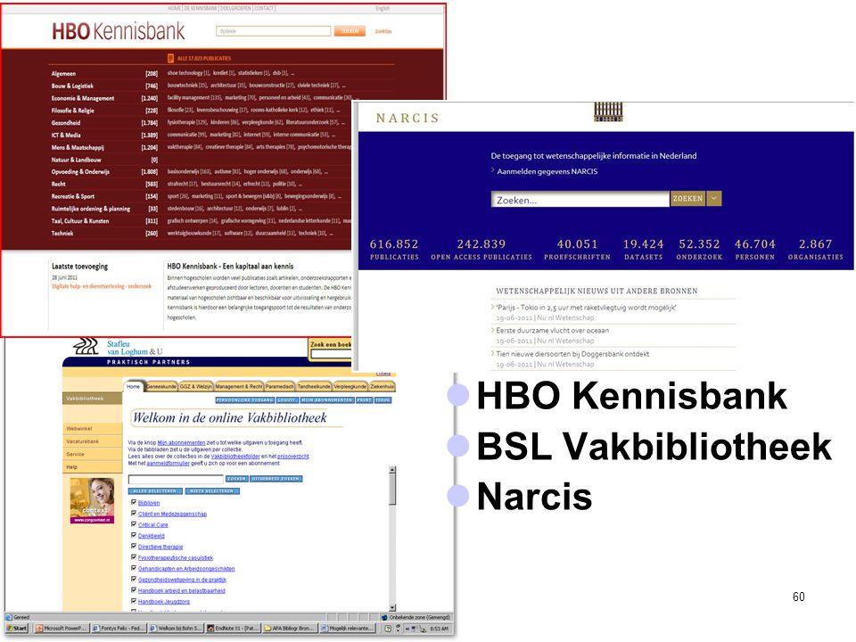 HBO Kennisbank BSL Vakbibliotheek Narcis