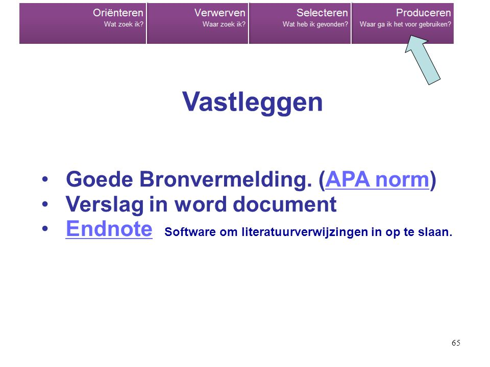 Vastleggen Goede Bronvermelding. (APA norm) Verslag in word document