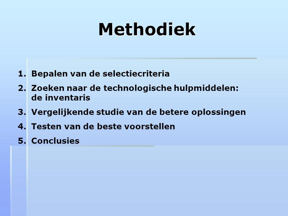Methodiek Bepalen van de selectiecriteria