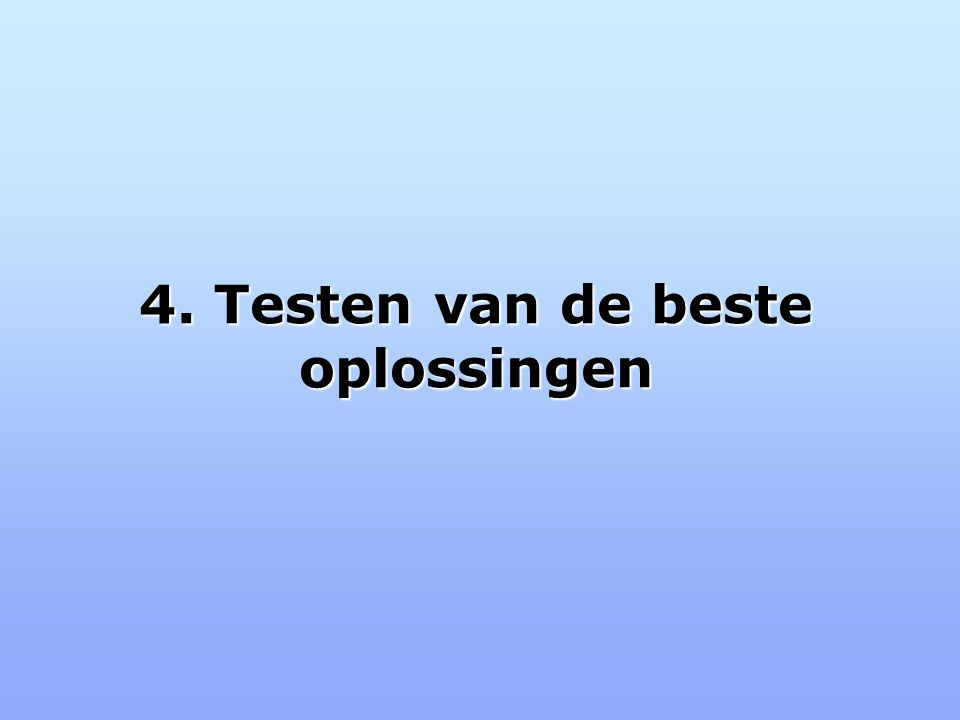 4. Testen van de beste oplossingen