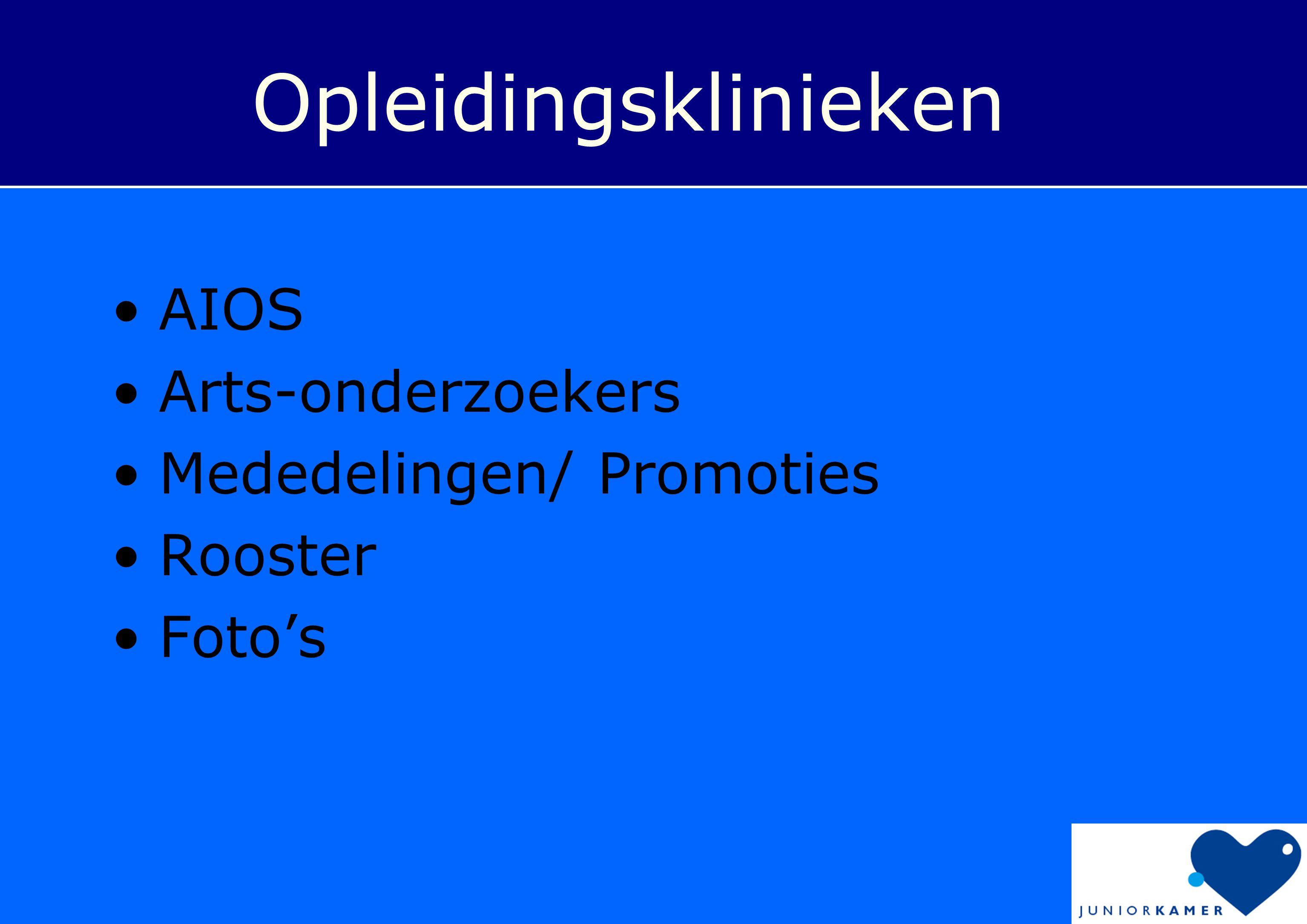 Opleidingsklinieken AIOS Arts-onderzoekers Mededelingen/ Promoties