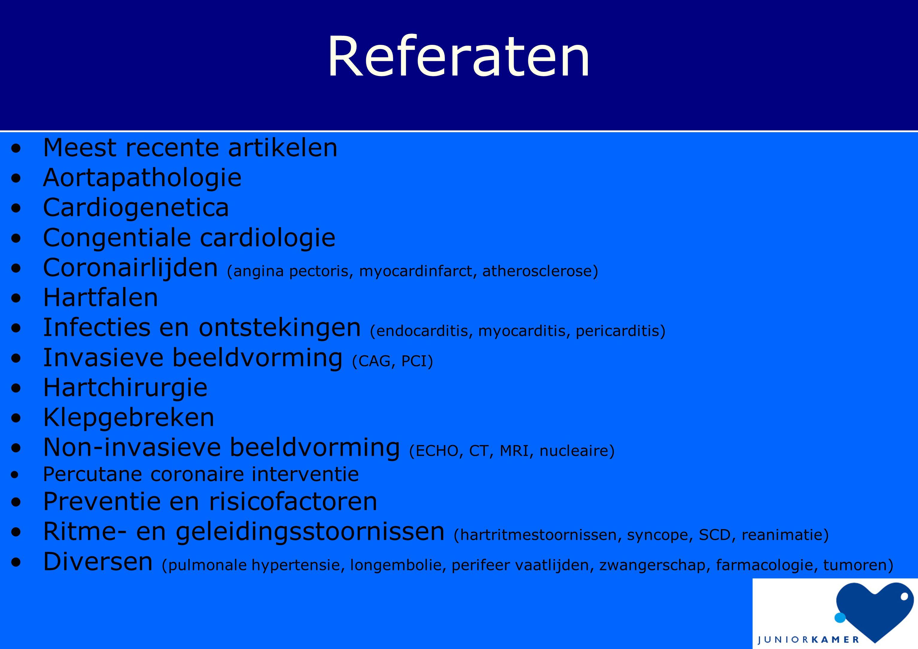 Referaten Meest recente artikelen Aortapathologie Cardiogenetica