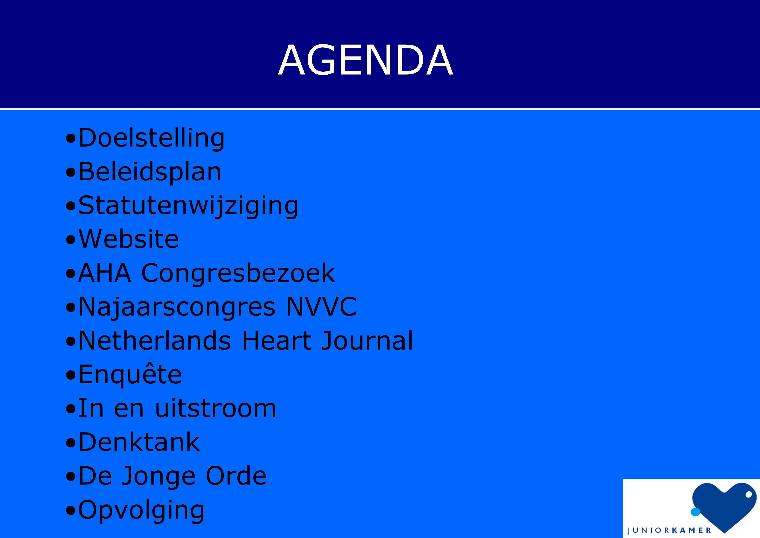 AGENDA Doelstelling Beleidsplan Statutenwijziging Website