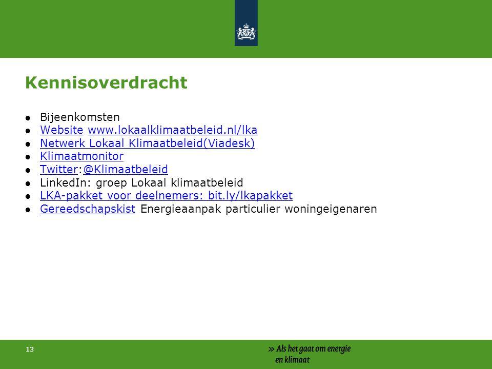 Kennisoverdracht Bijeenkomsten Website www.lokaalklimaatbeleid.nl/lka