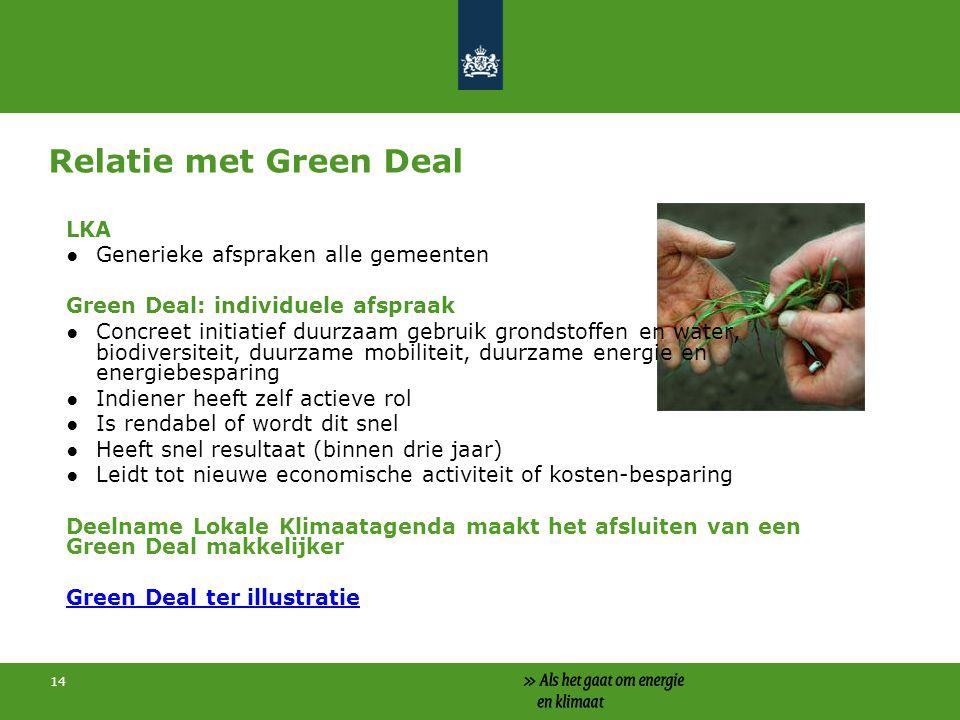 Relatie met Green Deal voor bedrijven en burgers Vb film green deal: