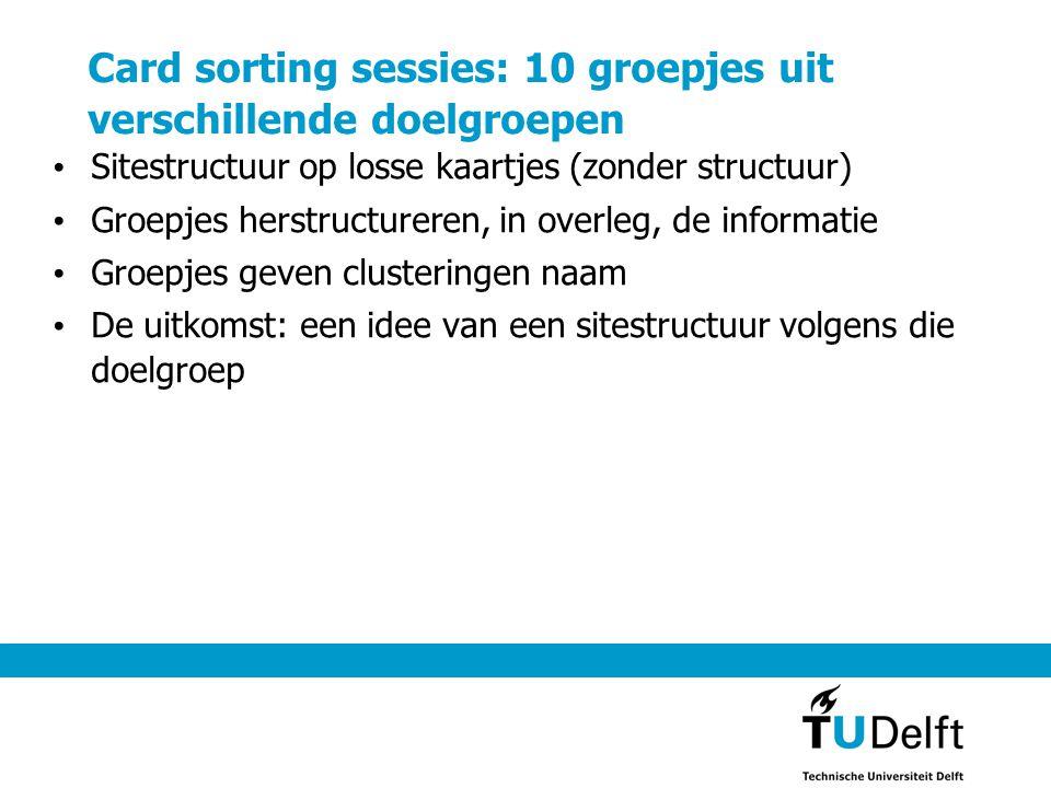 Card sorting sessies: 10 groepjes uit verschillende doelgroepen