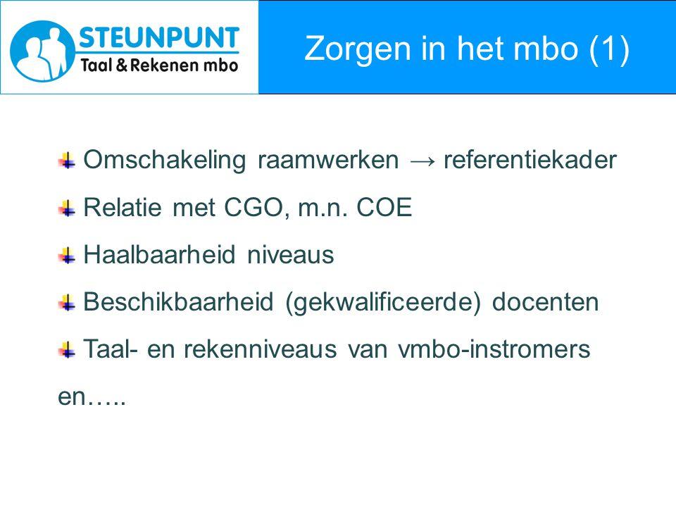 Zorgen in het mbo (1) Omschakeling raamwerken → referentiekader