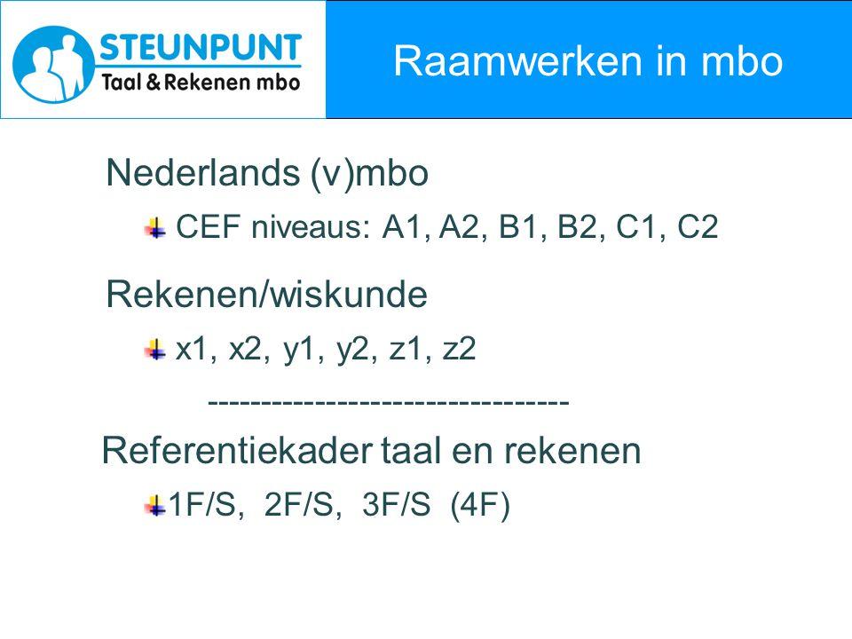 Raamwerken in mbo Nederlands (v)mbo Rekenen/wiskunde