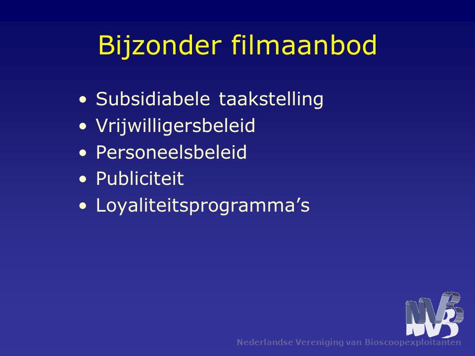 Bijzonder filmaanbod Subsidiabele taakstelling Vrijwilligersbeleid