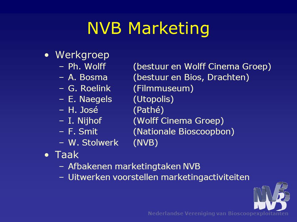 NVB Marketing Werkgroep Taak Ph. Wolff (bestuur en Wolff Cinema Groep)