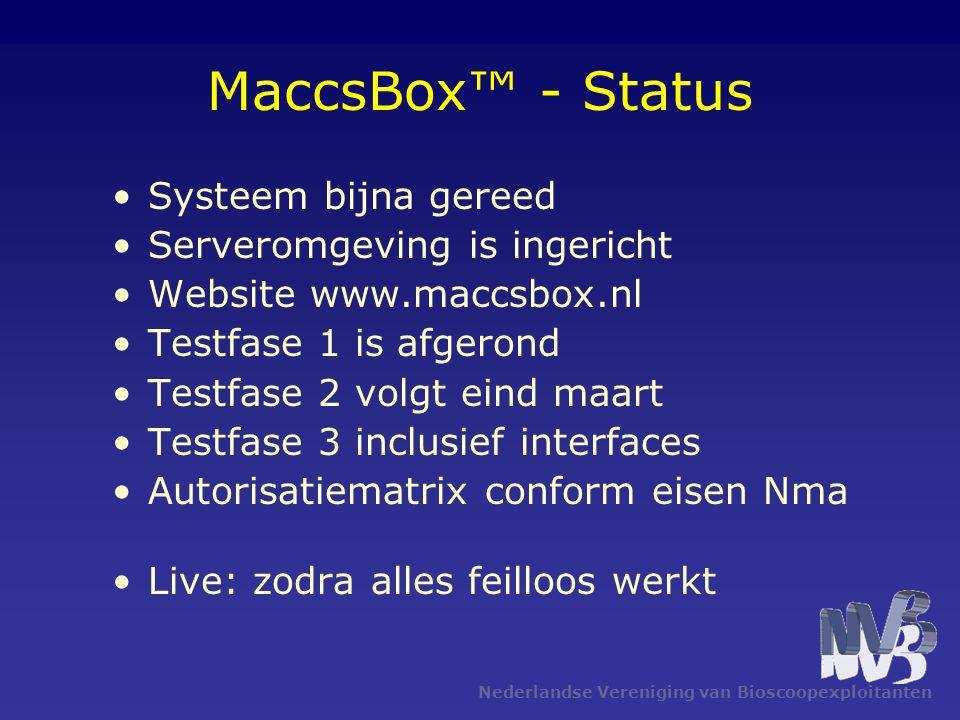 MaccsBox™ - Status Systeem bijna gereed Serveromgeving is ingericht