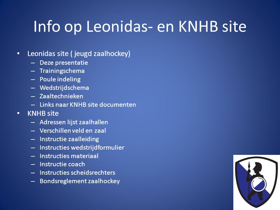 Info op Leonidas- en KNHB site