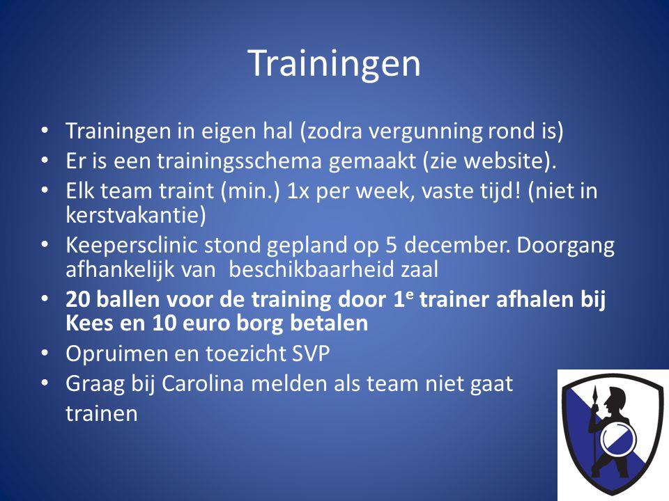 Trainingen Trainingen in eigen hal (zodra vergunning rond is)