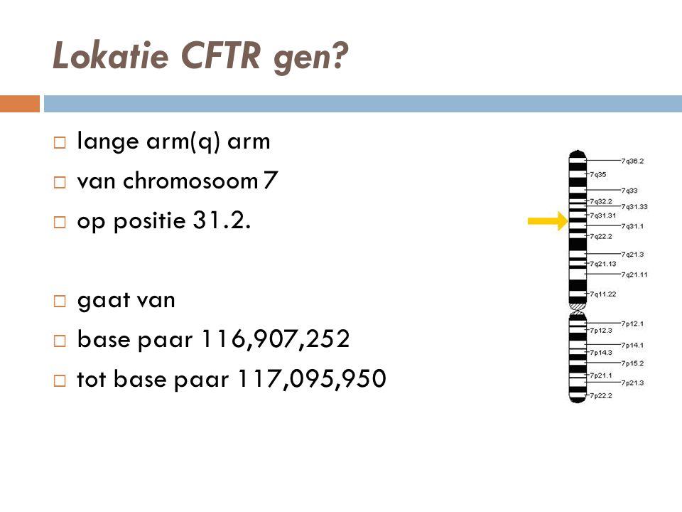 Lokatie CFTR gen lange arm(q) arm van chromosoom 7 op positie 31.2.