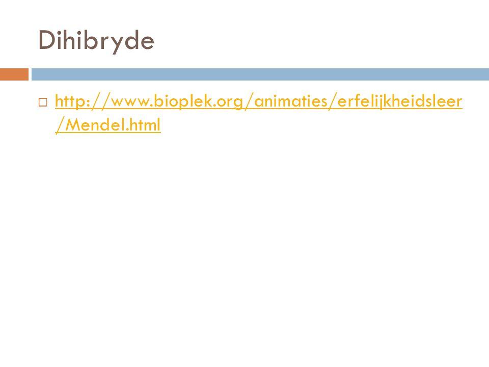 Dihibryde http://www.bioplek.org/animaties/erfelijkheidsleer /Mendel.html