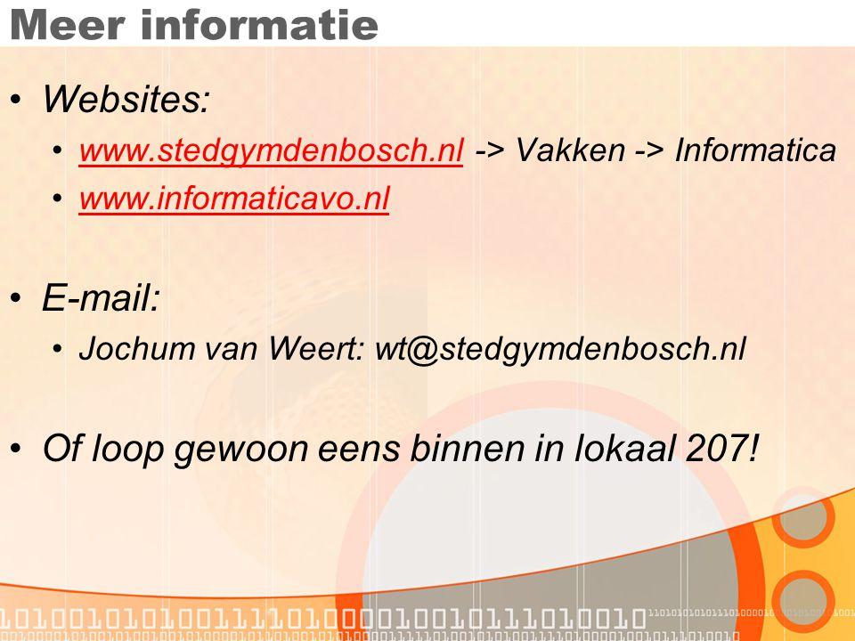 Meer informatie Websites: E-mail: