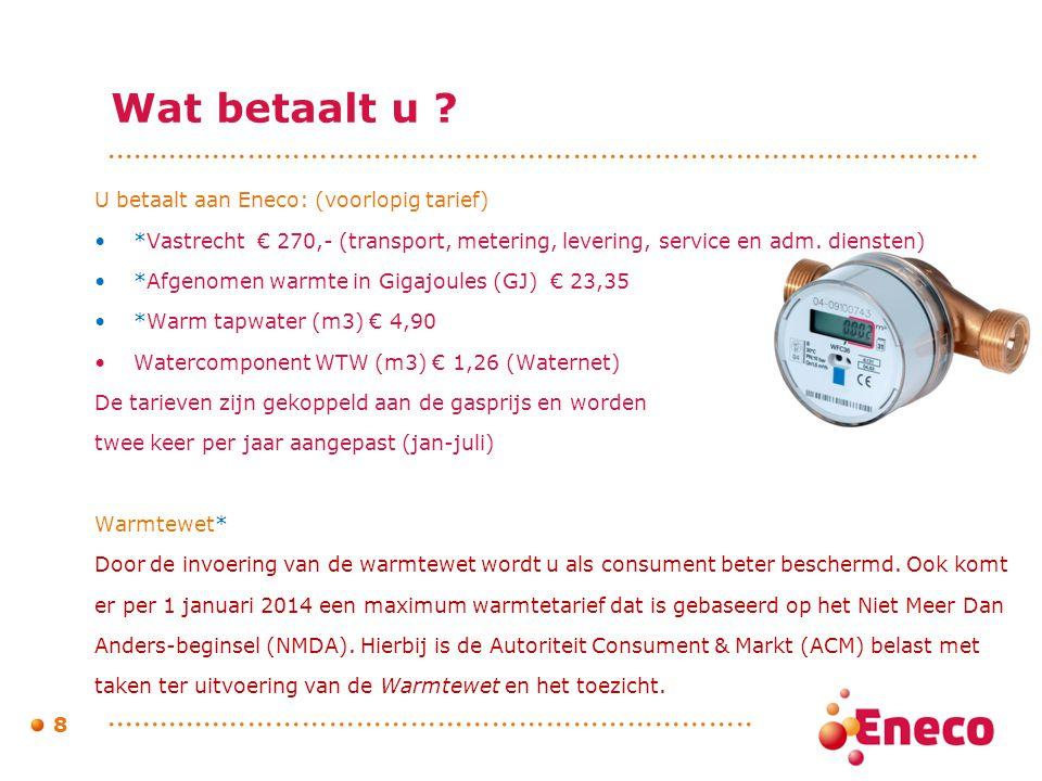 Wat betaalt u U betaalt aan Eneco: (voorlopig tarief)