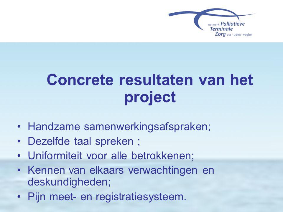 Concrete resultaten van het project