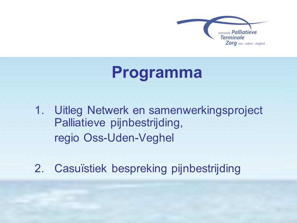 Programma 1. Uitleg Netwerk en samenwerkingsproject Palliatieve pijnbestrijding, regio Oss-Uden-Veghel.