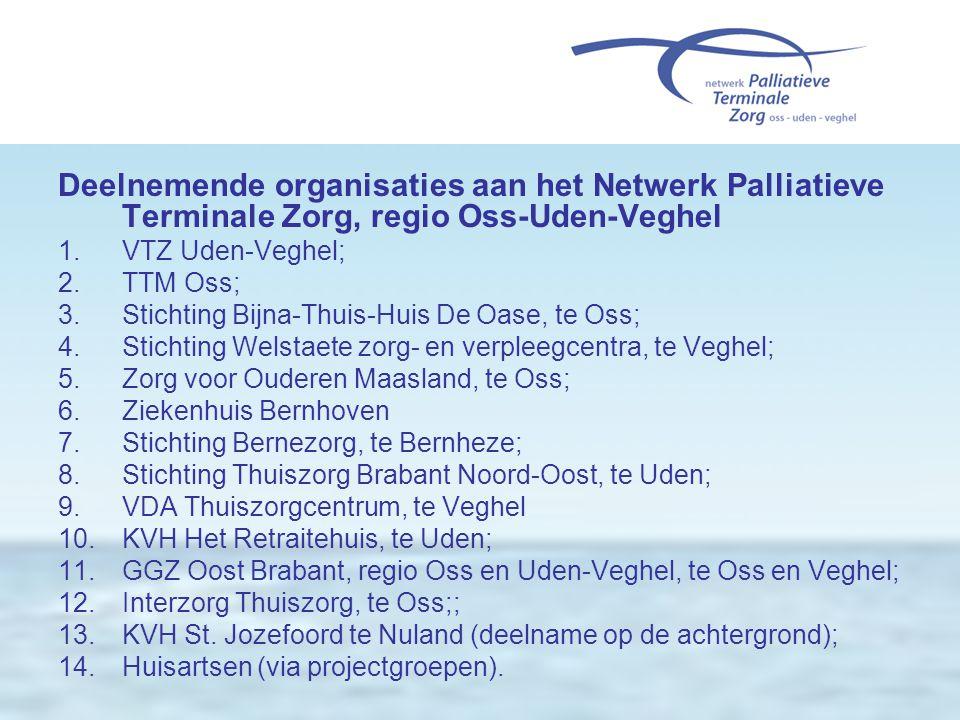 Deelnemende organisaties aan het Netwerk Palliatieve Terminale Zorg, regio Oss-Uden-Veghel