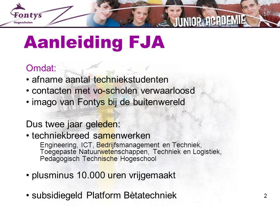 Aanleiding FJA Omdat: afname aantal techniekstudenten