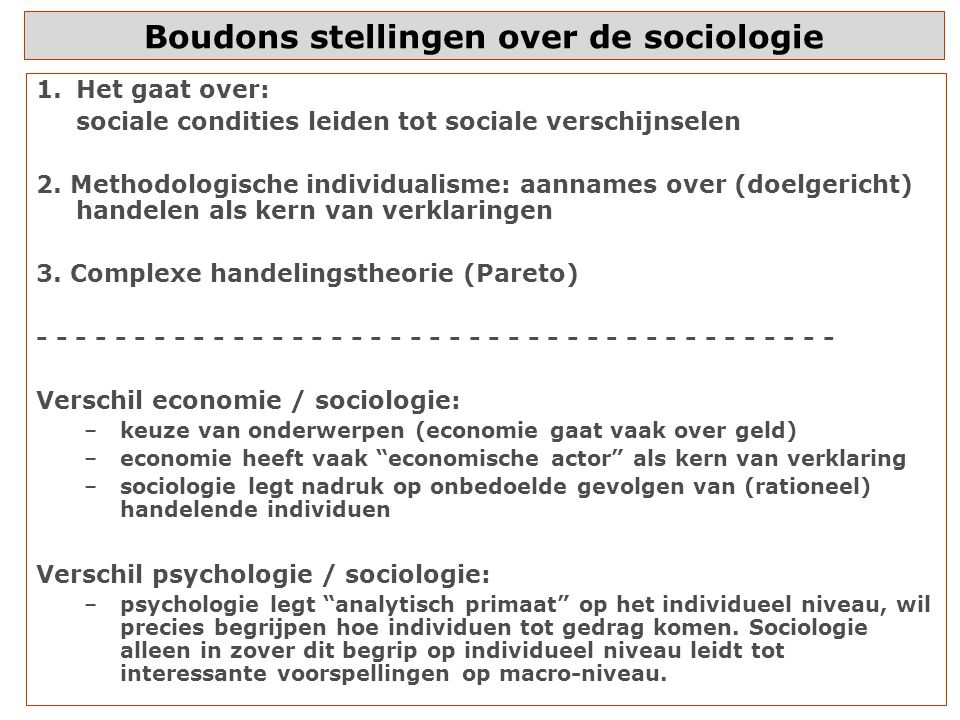Boudons stellingen over de sociologie