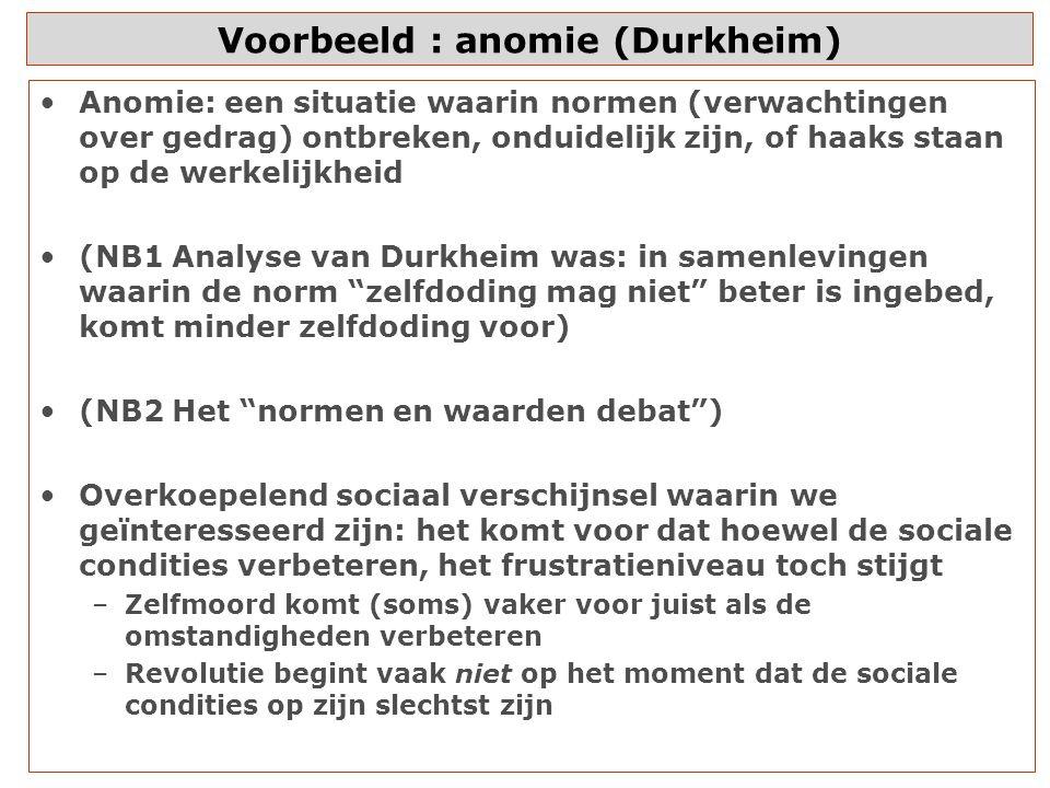 Voorbeeld : anomie (Durkheim)