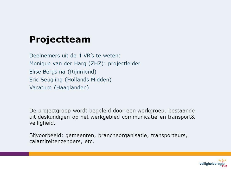 Projectteam Deelnemers uit de 4 VR's te weten: