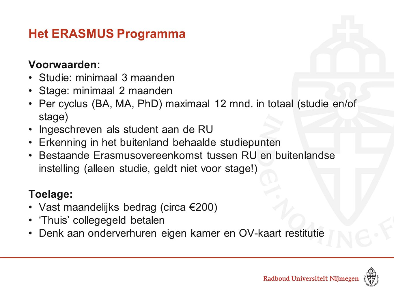 Het ERASMUS Programma Voorwaarden: Studie: minimaal 3 maanden
