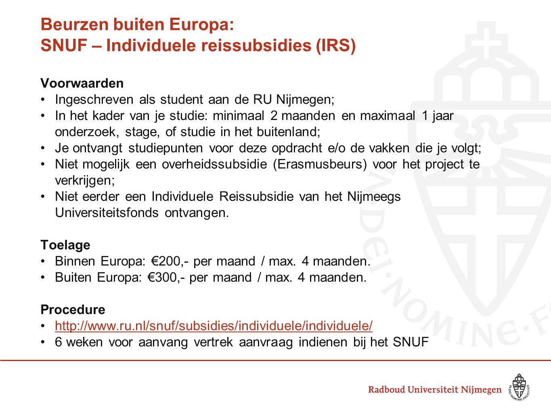 Beurzen buiten Europa: SNUF – Individuele reissubsidies (IRS)