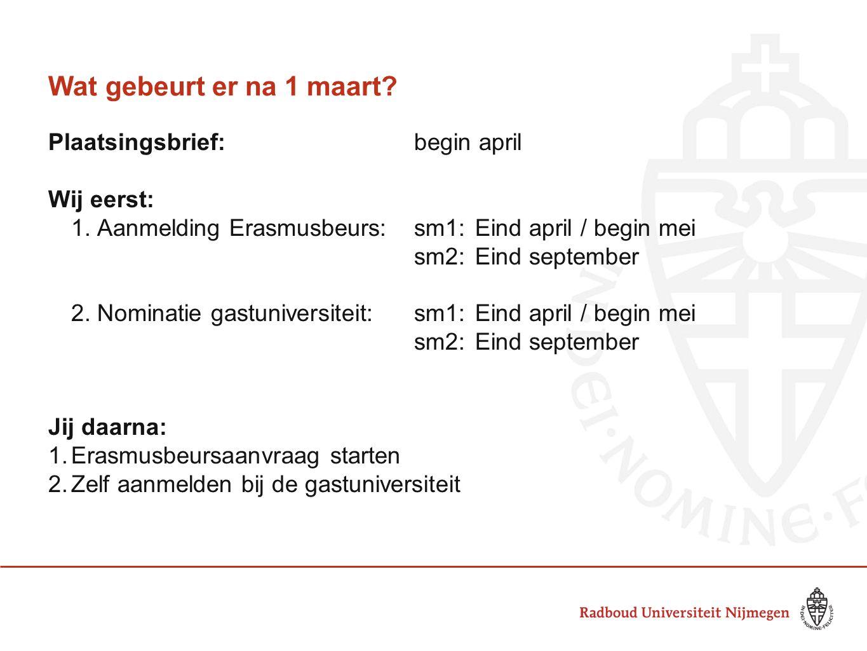 Wat gebeurt er na 1 maart Plaatsingsbrief: begin april Wij eerst: