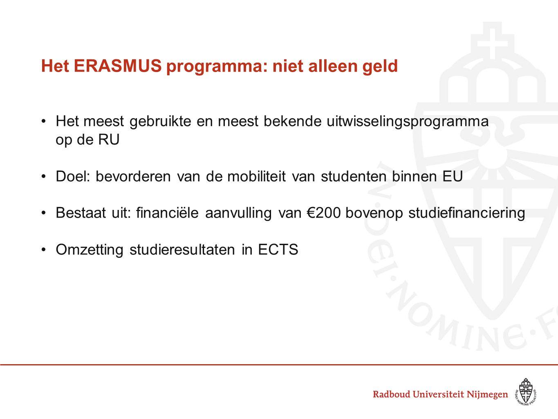 Het ERASMUS programma: niet alleen geld