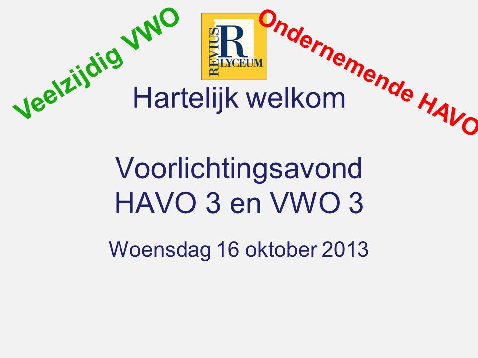 Hartelijk welkom Voorlichtingsavond HAVO 3 en VWO 3