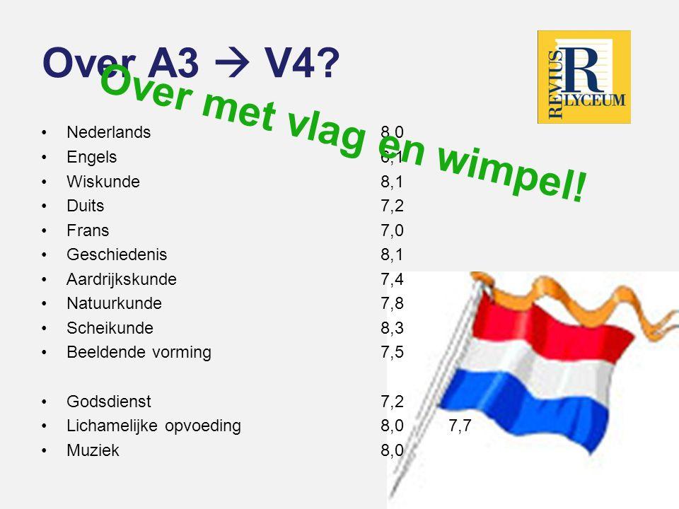 Over A3  V4 Over met vlag en wimpel! Nederlands 8,0 Engels 6,1