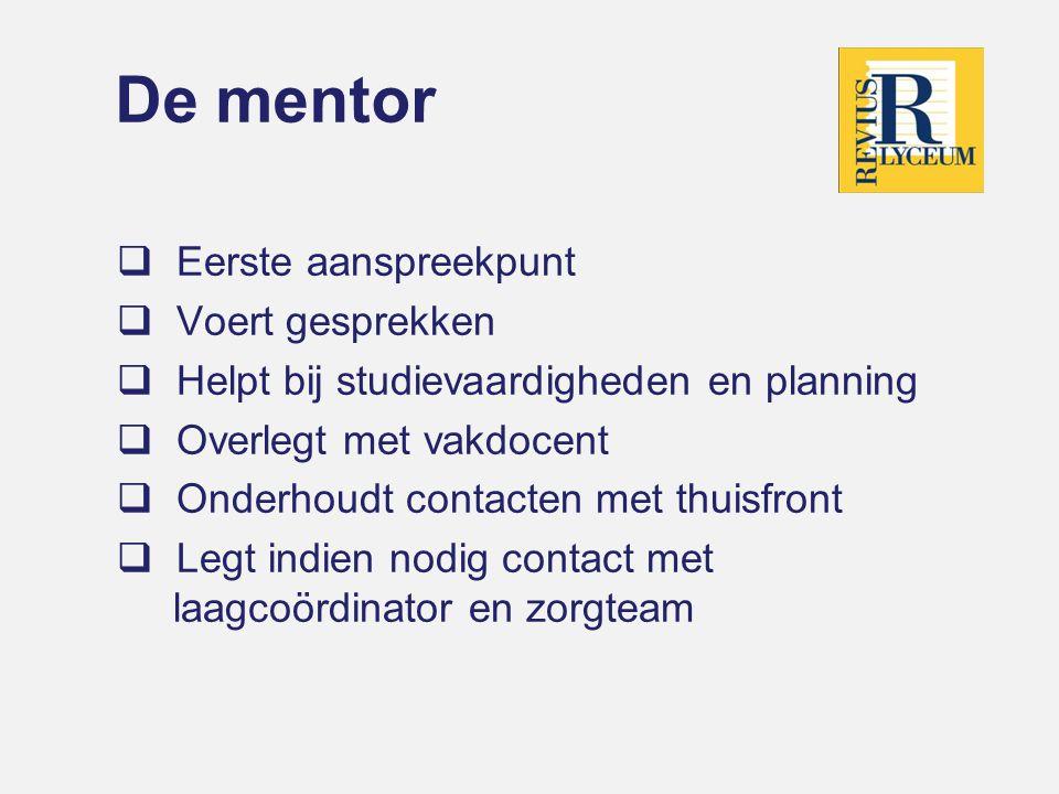 De mentor Eerste aanspreekpunt Voert gesprekken