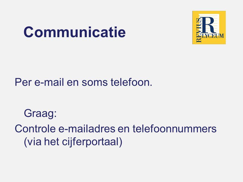 Communicatie Per e-mail en soms telefoon. Graag: