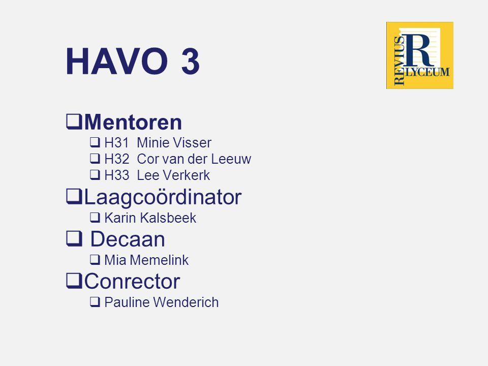 HAVO 3 Mentoren Laagcoördinator Decaan Conrector H31 Minie Visser