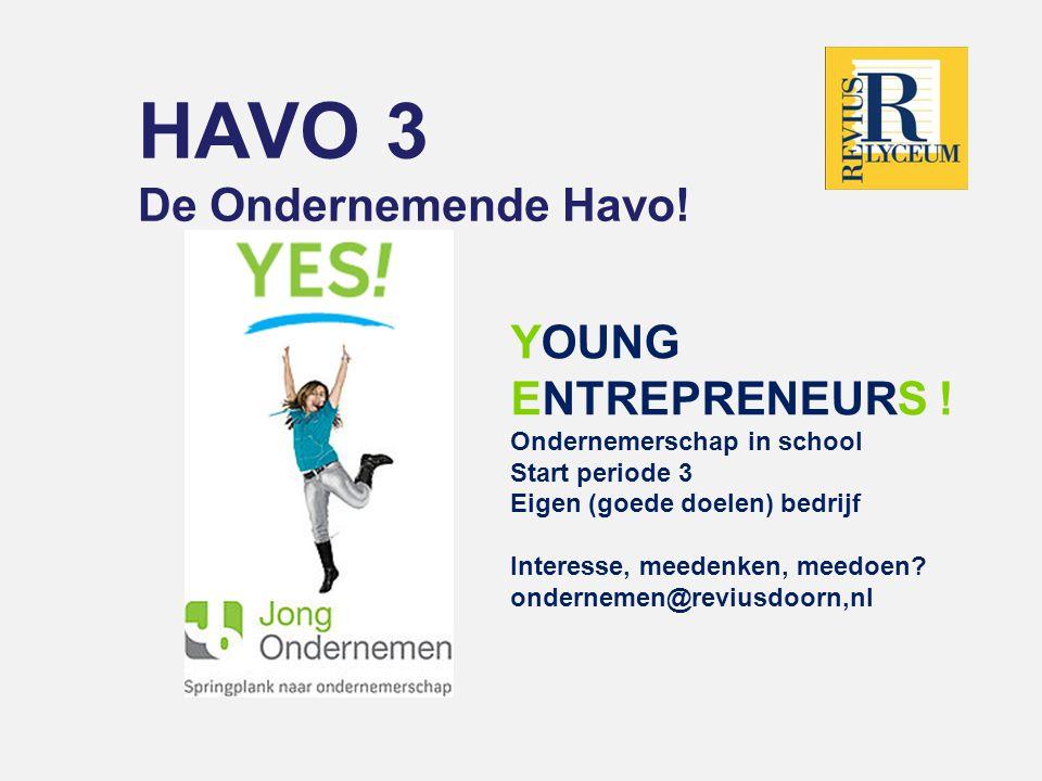HAVO 3 De Ondernemende Havo! Young EntrepreneurS !