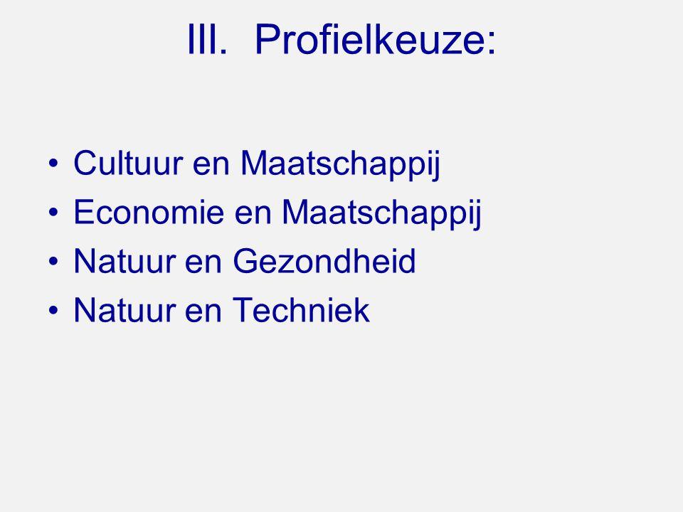 III. Profielkeuze: Cultuur en Maatschappij Economie en Maatschappij