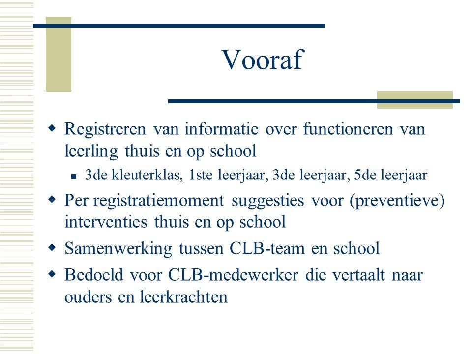 Vooraf Registreren van informatie over functioneren van leerling thuis en op school. 3de kleuterklas, 1ste leerjaar, 3de leerjaar, 5de leerjaar.