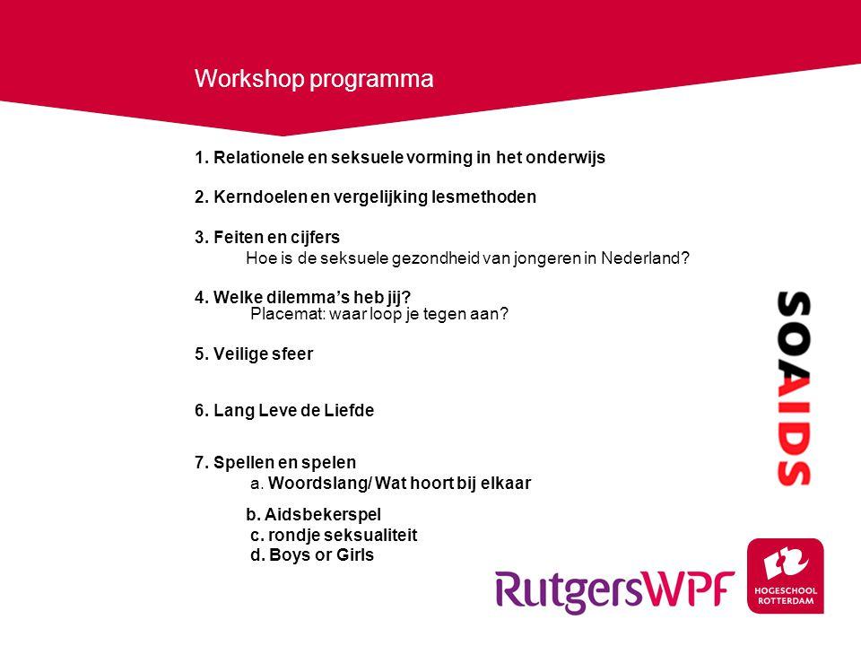 Workshop programma 1. Relationele en seksuele vorming in het onderwijs