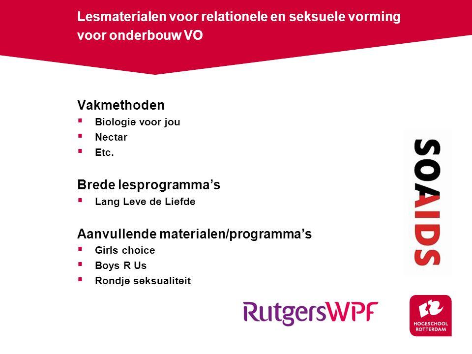 Lesmaterialen voor relationele en seksuele vorming voor onderbouw VO