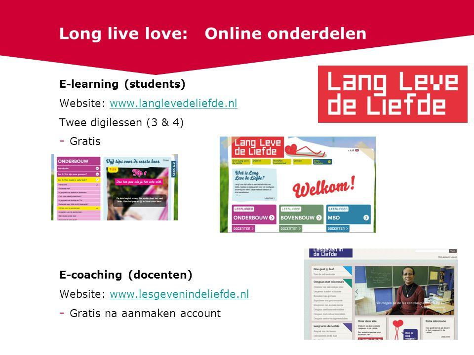 Long live love: Online onderdelen