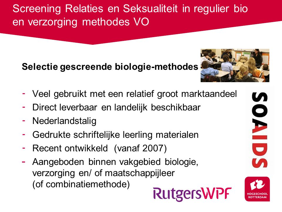 Screening Relaties en Seksualiteit in regulier bio en verzorging methodes VO
