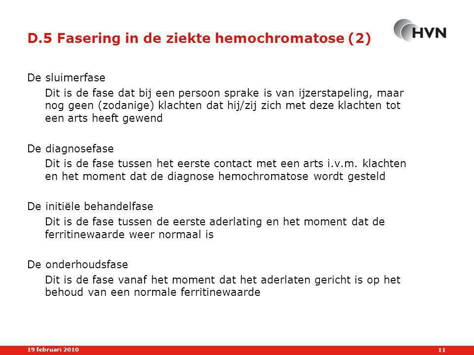 D.5 Fasering in de ziekte hemochromatose (2)