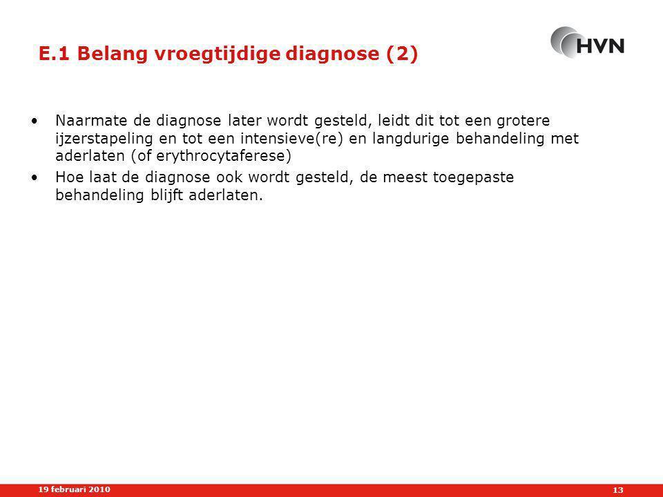 E.1 Belang vroegtijdige diagnose (2)