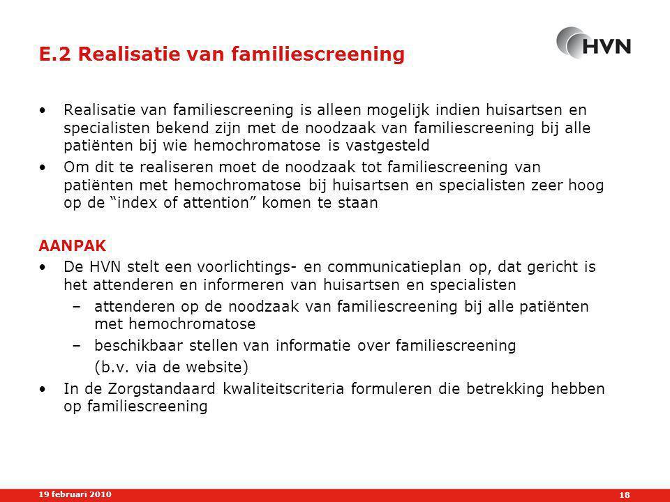 E.2 Realisatie van familiescreening