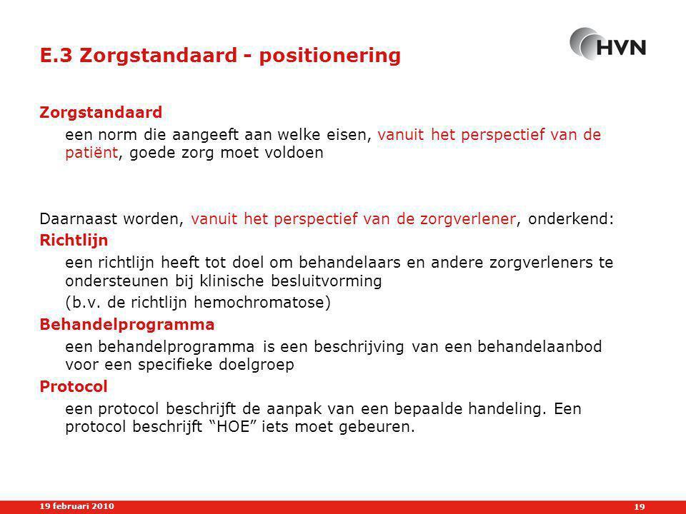 E.3 Zorgstandaard - positionering