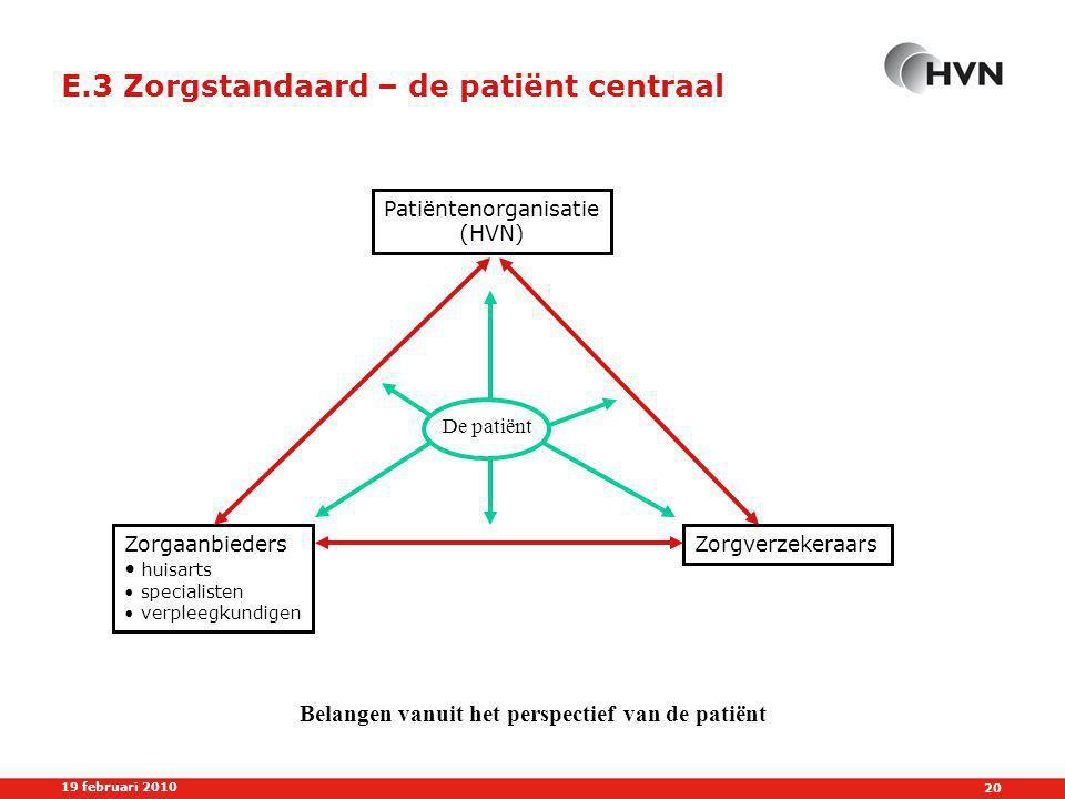 E.3 Zorgstandaard – de patiënt centraal